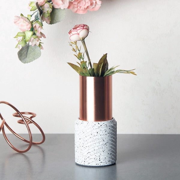 Swirl Speckled Vase - White Copper