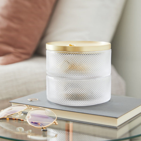 Tesora Storage Box, Glass Brass