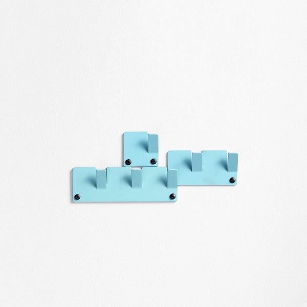 Tetris Wall Hooks, Set of 3 - Cyan Blue
