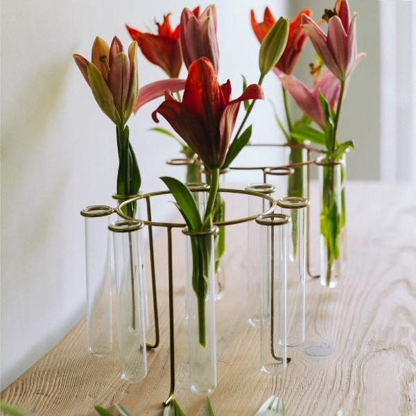 Carousel Test Tube Vase - Bright Gold