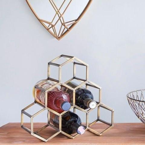 Beehive Wine Rack - Antique Brass