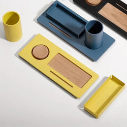Three Desk Organizer - Mellow Yellow