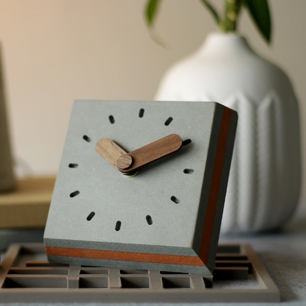Tosa Wooden Table Clock - Grey