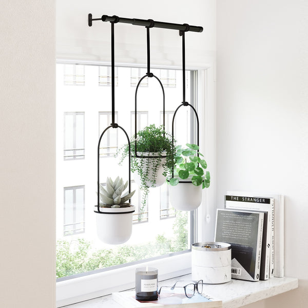 Triflora Hanging Planter, Set of 3 - White Black