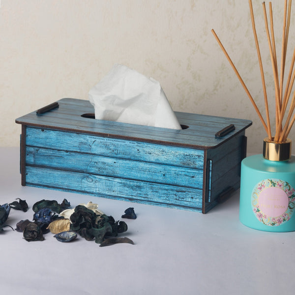Tissue Box - Turquoise Wood