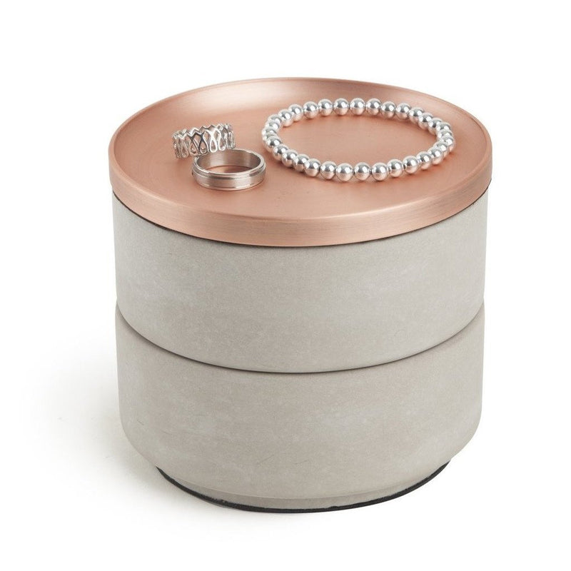 Tesora Storage Box, Concrete Copper