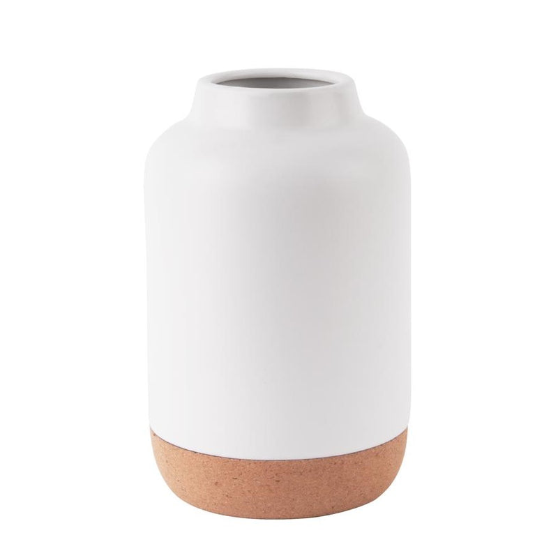 Ceramic Vase with Cork Bottom Large - White