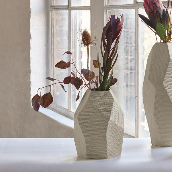 Carat Faceted Vase - Beige