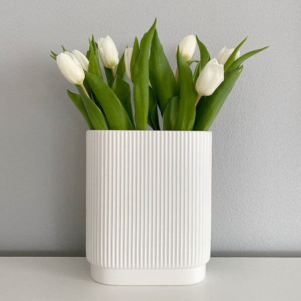 Art Deco Lines Vase Medium - White