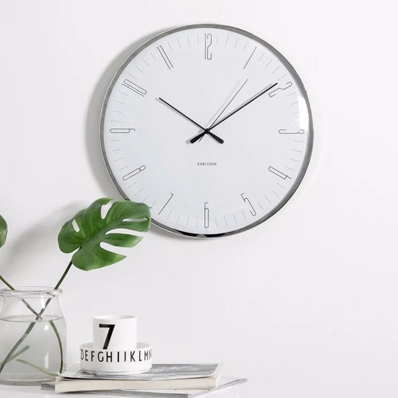 Dragonfly Dome Wall Clock Large - White
