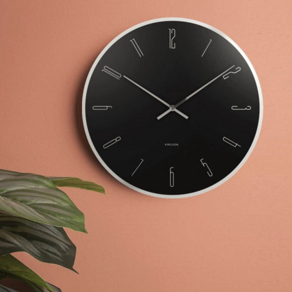 Numbers Glass Clock - Black