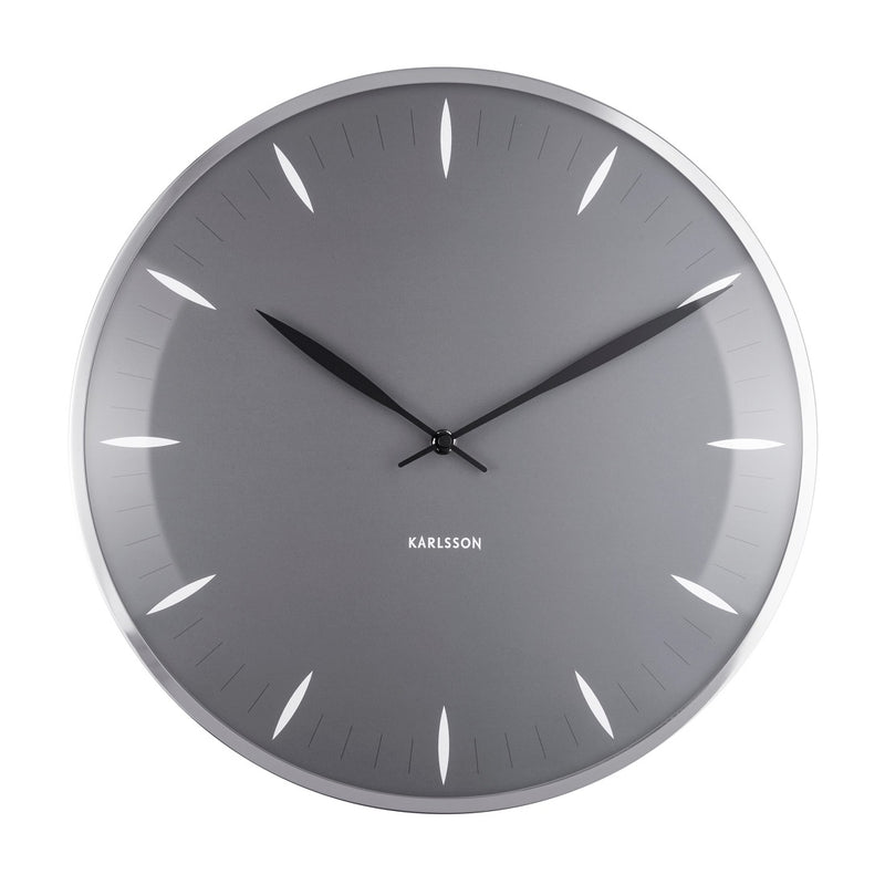 Dome Leaf Wall Clock Large - Dark Grey