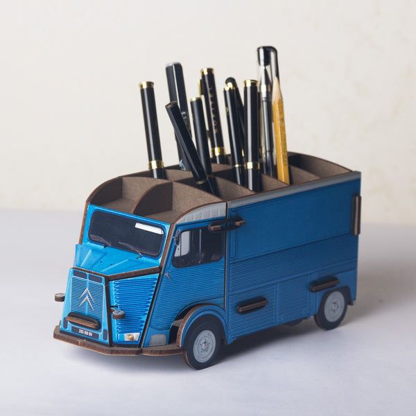 Pen Holder - Blue Citroen Truck