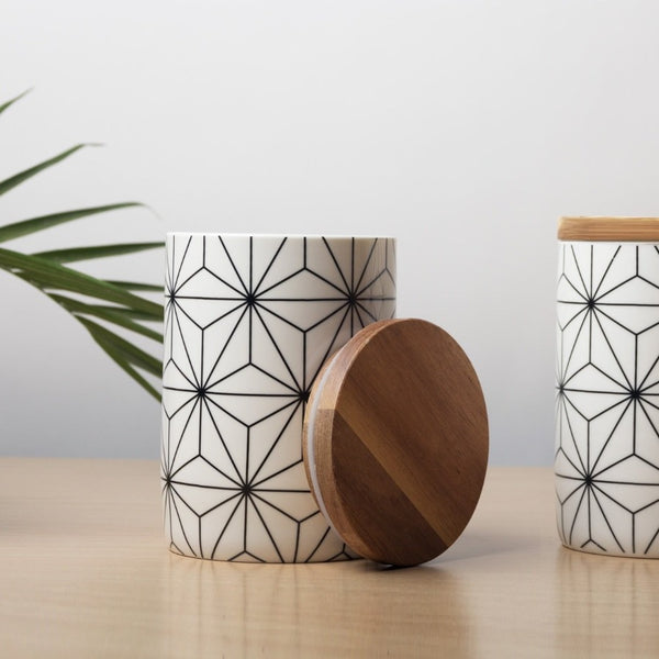 Storage Jar with Lid - Geometric White