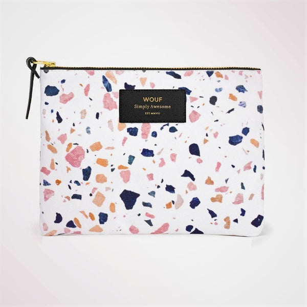White Terrazzo Large Pouch