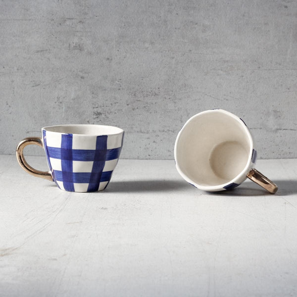 William Check Handmade Ceramic Cup