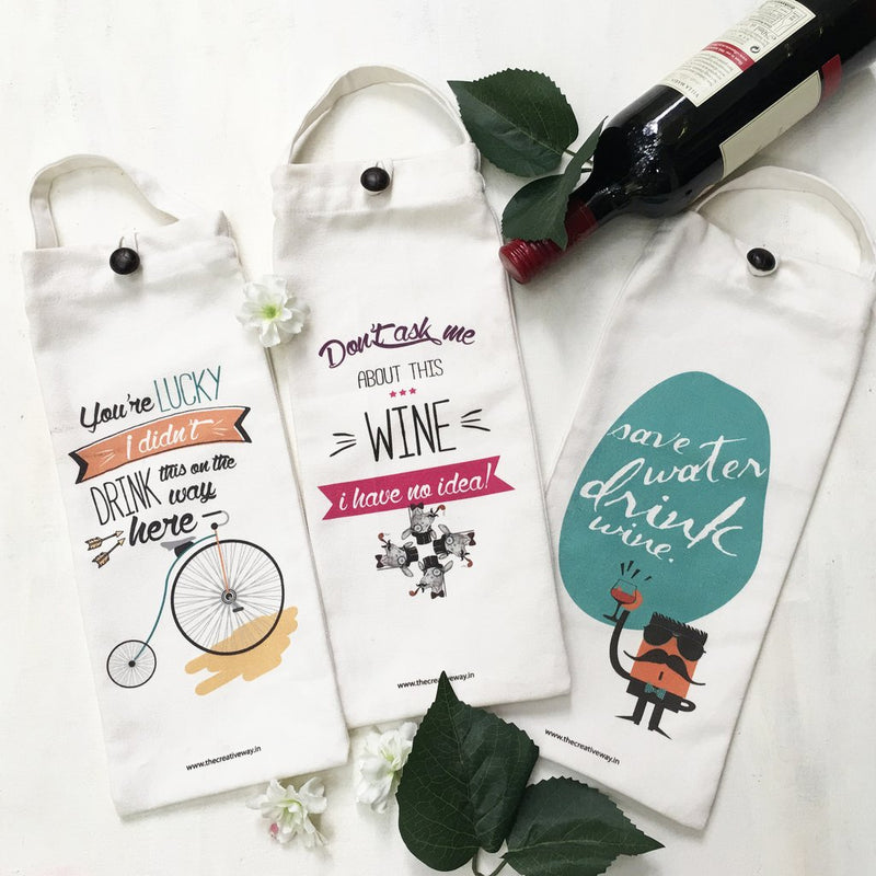 Amusing Quotes Wine Bags, Set of 3