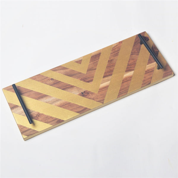 Wooden Long Tray - Chevron Gold