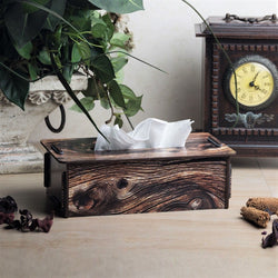 Tissue Box - Brown Wood