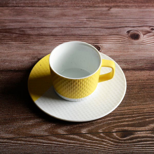 Hue Cup with Saucer - Mustard Yellow