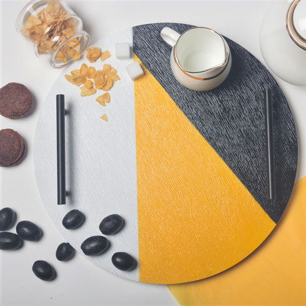 Patterned Round Tray -  Black Yellow