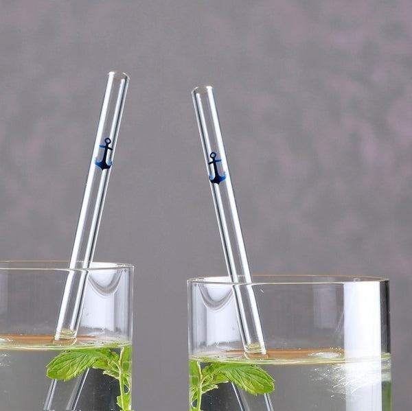 Barbaydos Glass Straws, Set of 4 - Anchor