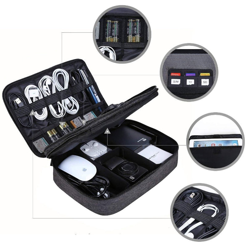 Electronics Organizer, Large - Heather Black