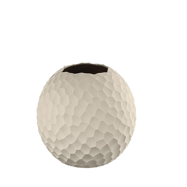 Carve Ball Vase Small - Cream