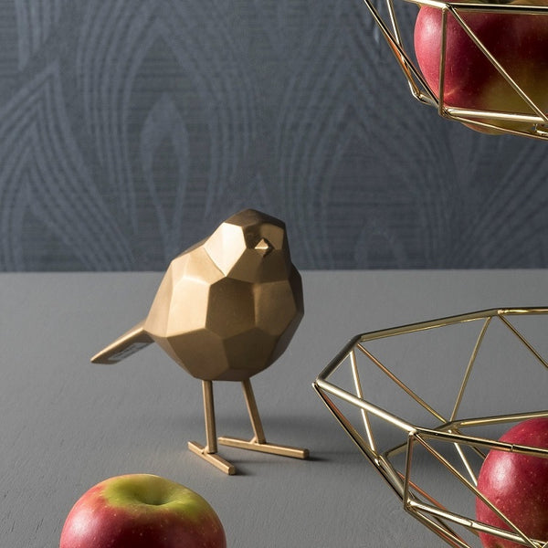 Bird Faceted Sculpture, Small - Gold
