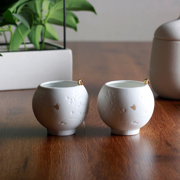 Porcelain Tealight Holders, Set of 2 - Golden Bird