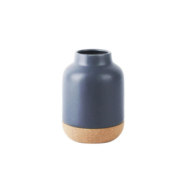 Ceramic Vase with Cork Bottom Small - Blue