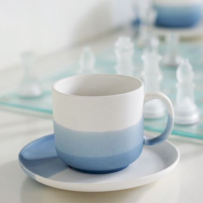 Skye Porcelain Mugs with Saucers, Set of 2