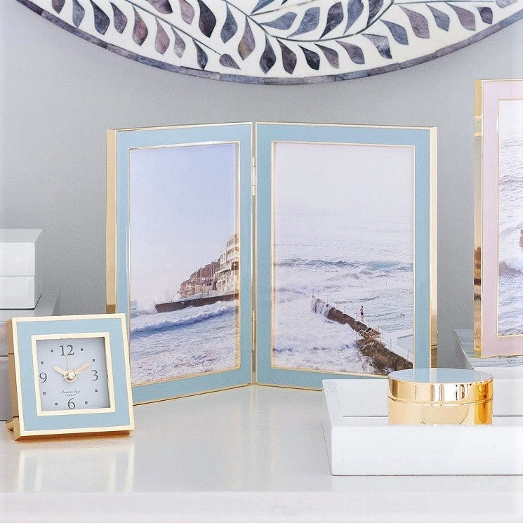 Powder Blue & Gold Double Frame - Large