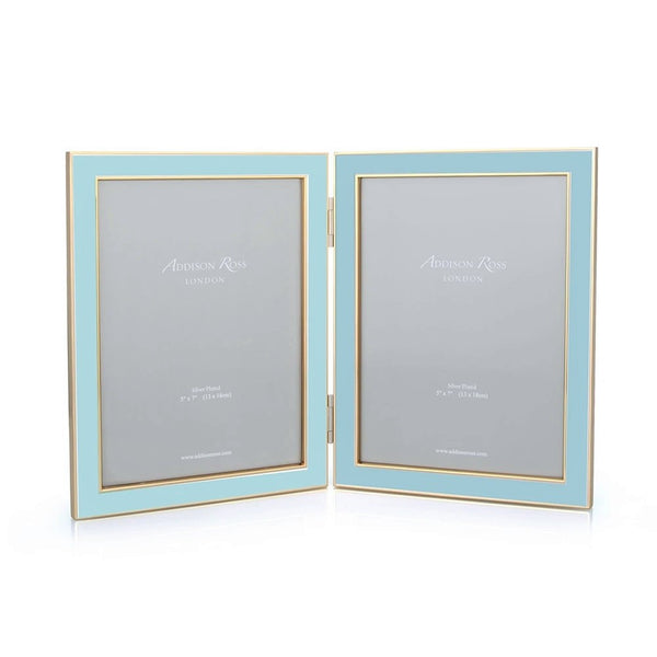 Powder Blue & Gold Double Frame - 5x7