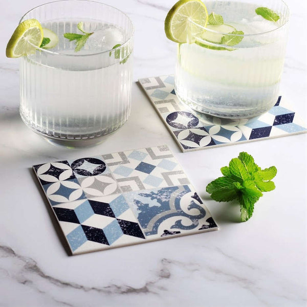 Vinyl Coasters, Set of 4 - Mosaik Blue