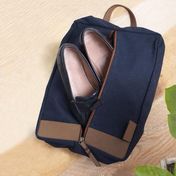 Leather & Canvas Shoe Sack - Blue