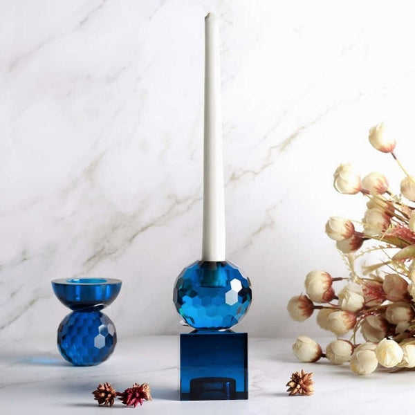 Glass Art Candle Holder - Blue