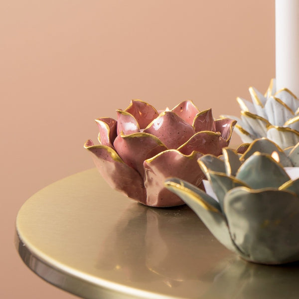 Flora Porcelain Tealight Holder - Soft Pink