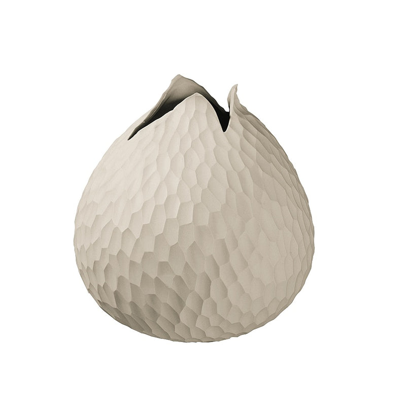 Carve Leaf Vase Small - Cream