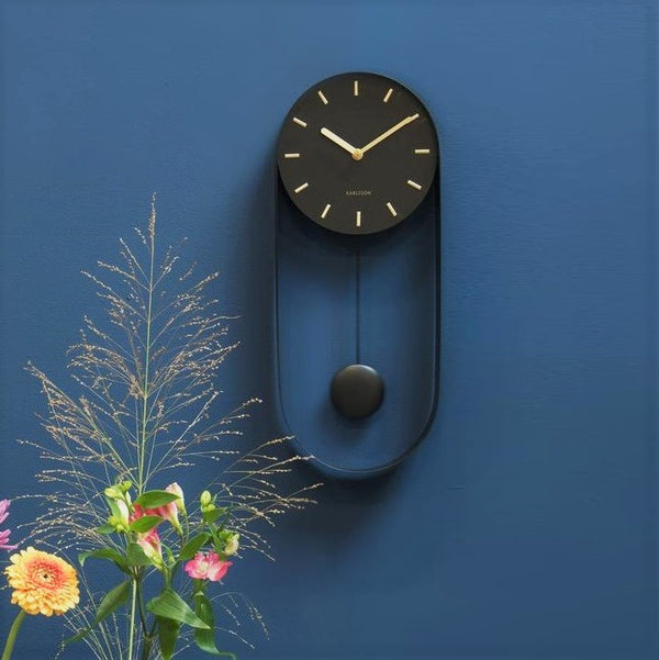 Charm Pendulum Wall Clock Tall - Black