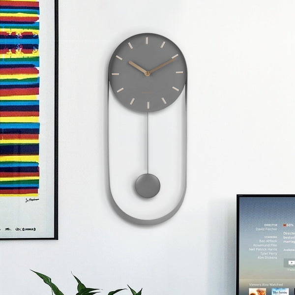 Charm Pendulum Wall Clock Tall - Grey