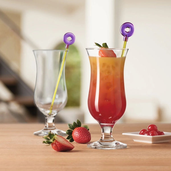 Hurricane Cocktail Glasses with Stirrers, Set of 2