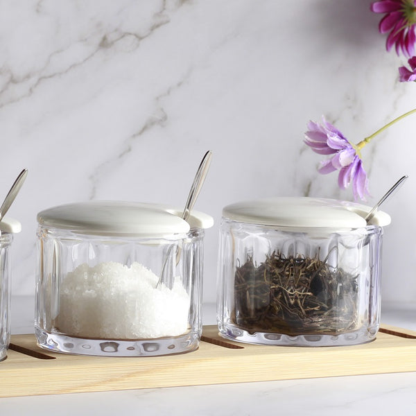 Daily Condiment Jars with Wooden Base