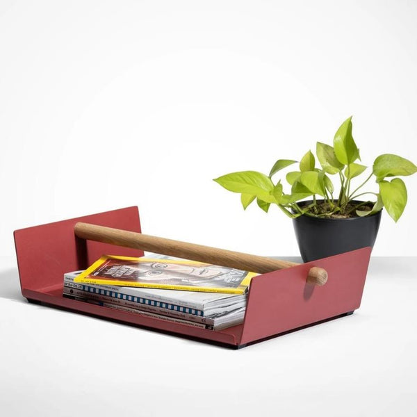 Cora Magazine Tray - Brick Red