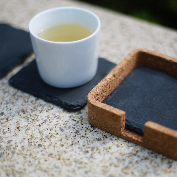 Slate Square Coasters with Cork Holder