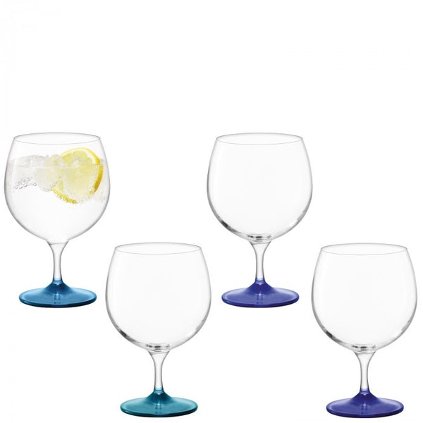 Coro Balloon Glasses, Set of 4 - Assorted Blue