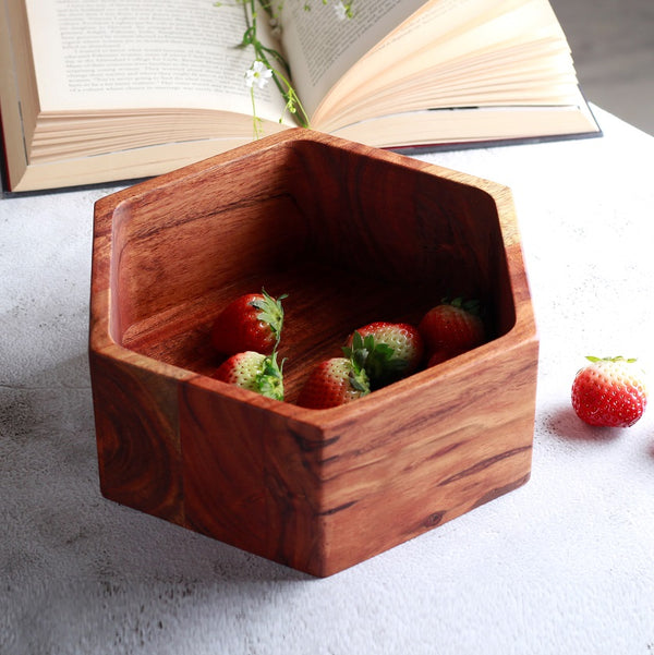 Creek Wooden Hexagon Serving Bowl