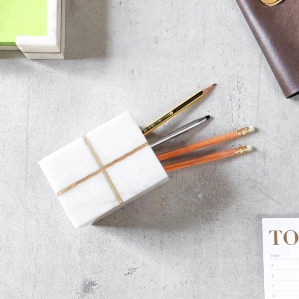 Marble Pen Holder with Brass Cross Inlay