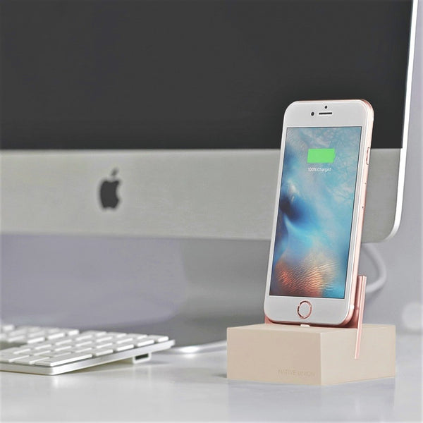 iPhone Dock + Cable - Stone/Rose Gold