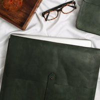 Leather Laptop Sleeve - Dark Green